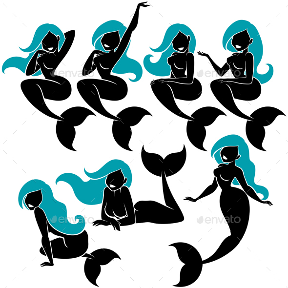 Mermaid Silhouette Set - Characters Vectors