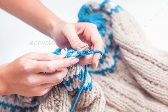The hobby concept - knitting - Stock Photo - Images