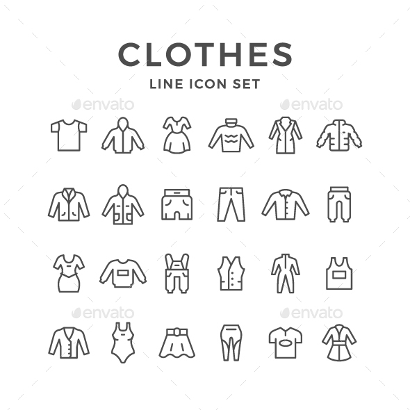 GraphicRiver Set Line Icons of Clothes 20814649