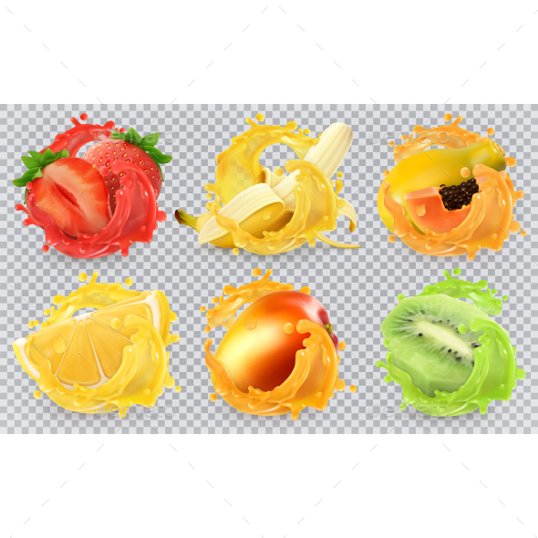GraphicRiver Fresh Fruits And Splashes 20814658