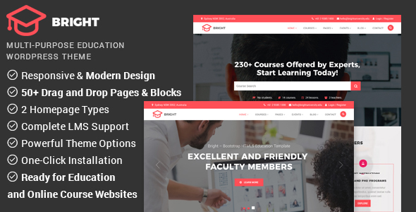 Download Bright - Education & Online Course WordPress Theme