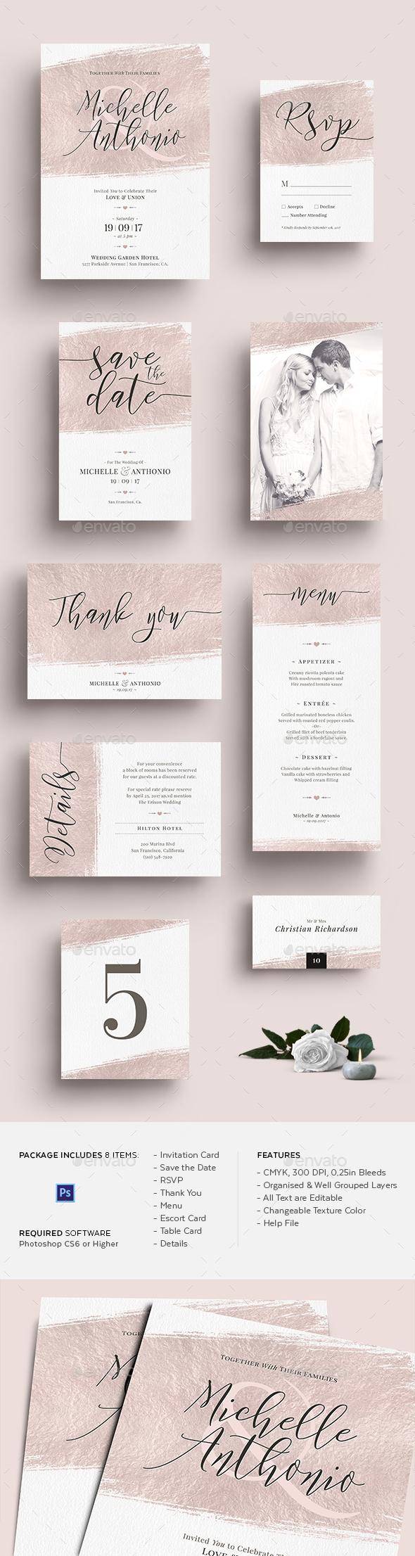 GraphicRiver Foil Wedding Invitation Set 20814872