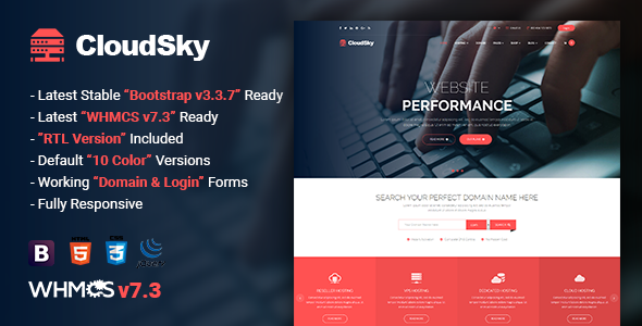 ThemeForest CloudSky Multipurpose Domain Hosting and WHMCS Template 20729612