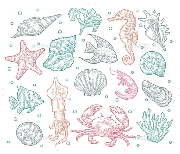 GraphicRiver Seamless Pattern Sea Animal 20815081