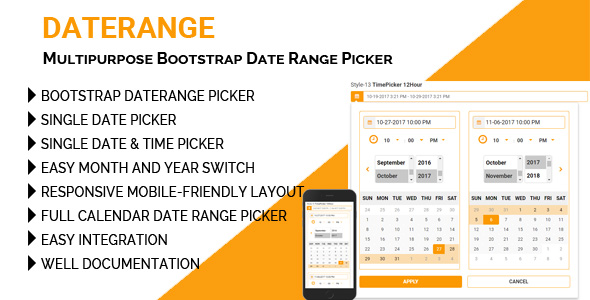 DateRange - Multipurpose Bootstrap Date Range Picker - CodeCanyon Item for Sale