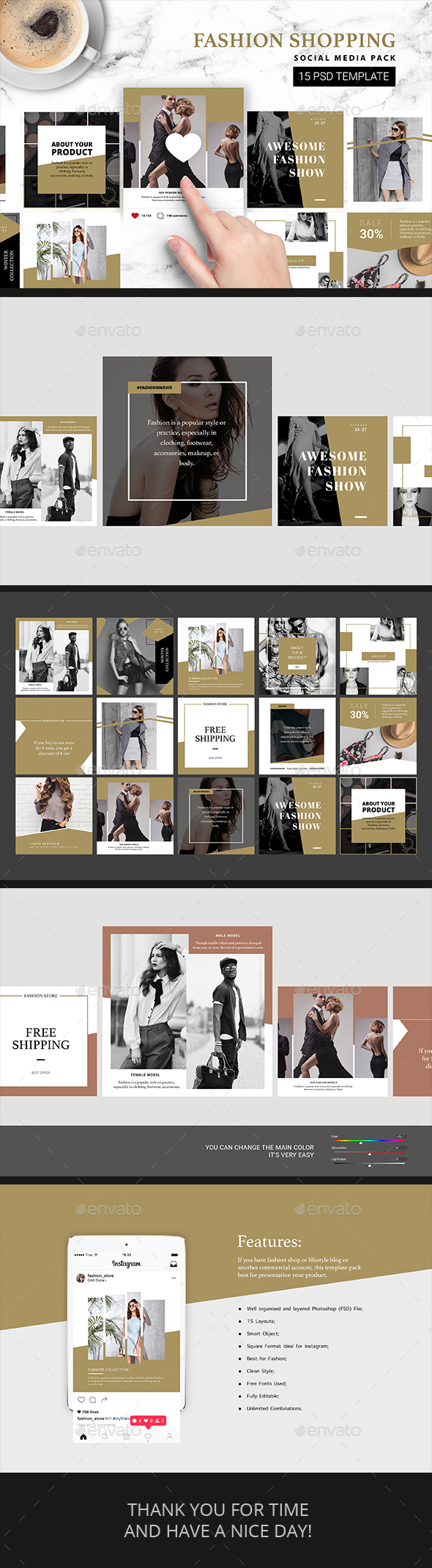 Fashion Shopping Instagram Template - Social Media Web Elements