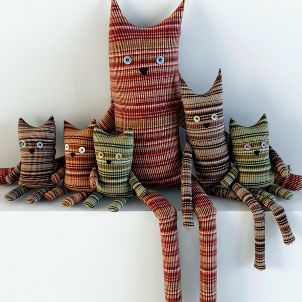 Toys cats textile - 3DOcean Item for Sale