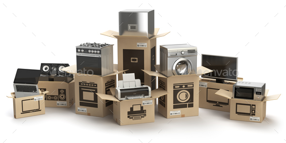 Household kitchen appliances and home electronics in boxes isola - Stock Photo - Images