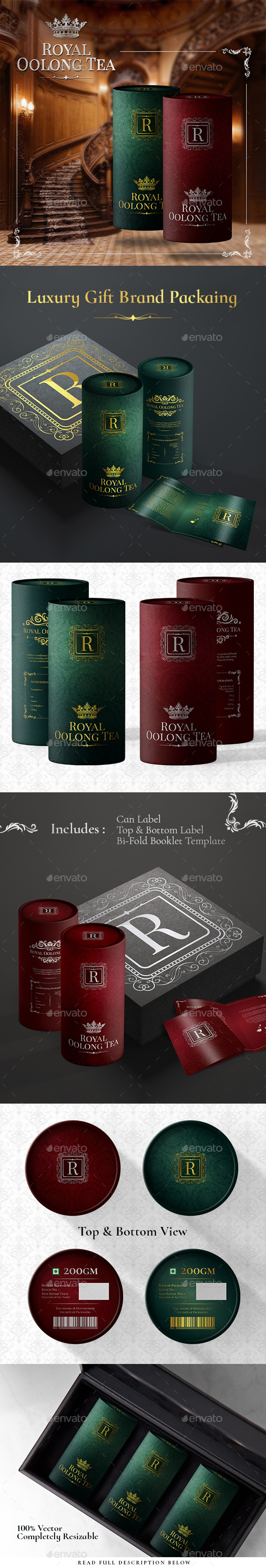 Royal Luxury Premium Gift Tea Packaging - Packaging Print Templates