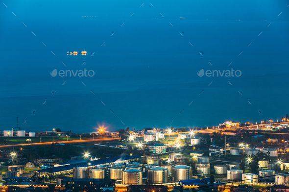 Batumi, Adjara, Georgia. Aerial View Of Cityscape At Evening. Bl - Stock Photo - Images