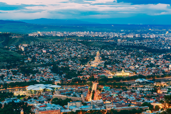 Tbilisi Georgia. Evening Summer Scenic Aerial Cityscape With Fam - Stock Photo - Images