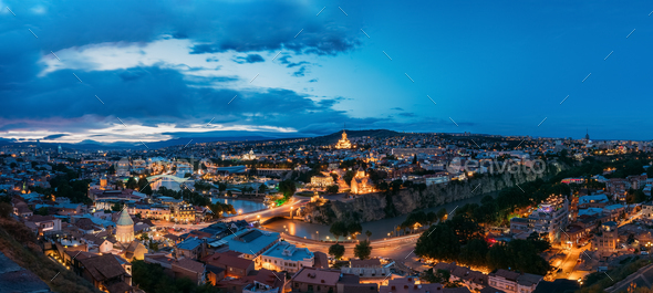 Tbilisi Georgia. Scenic Panoramic Top View Of Cityscape In Eveni - Stock Photo - Images
