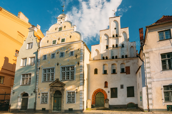 Riga, Latvia. Famous Landmark Three Brothers Buildings. Old Hous - Stock Photo - Images