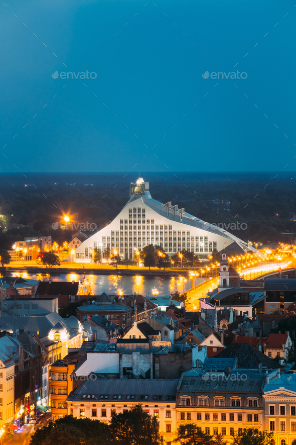 Riga, Latvia. Aerial View Of Cityscape In Summer Evening Or Nigh - Stock Photo - Images