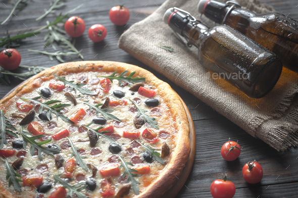 Cooked pizza with beer - Stock Photo - Images