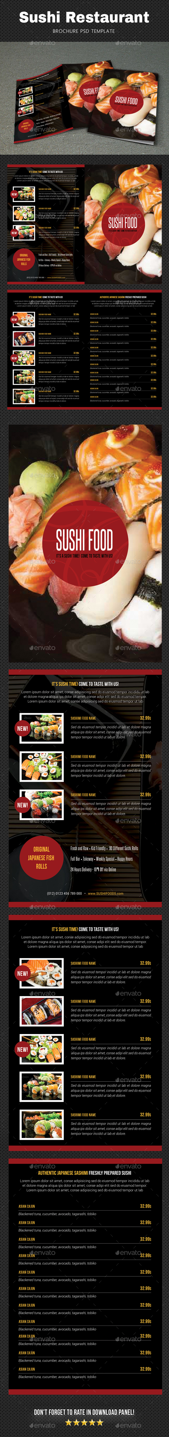 Sushi Menu Brochure 3 - Food Menus Print Templates