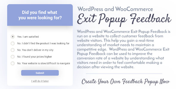 CodeCanyon WordPress and WooCommerce Exit Popup Feedback 20816103