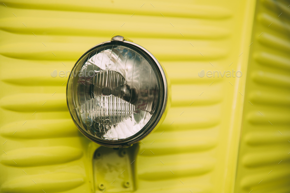 Close Up Of Old Vintage Retro Classic Cars Headlight - Stock Photo - Images