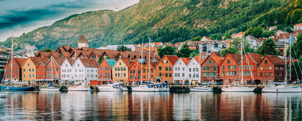 Bergen, Norway. View Of Historical Buildings Houses In Bryggen - - Stock Photo - Images