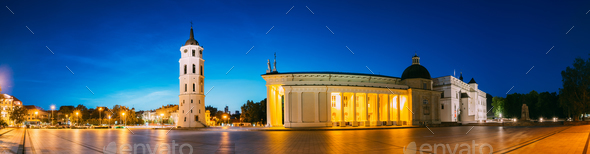 Vilnius, Lithuania, Eastern Europe. Evening Night Panorama Of Be - Stock Photo - Images