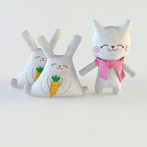 Toys cat and rabbit textile - 3DOcean Item for Sale