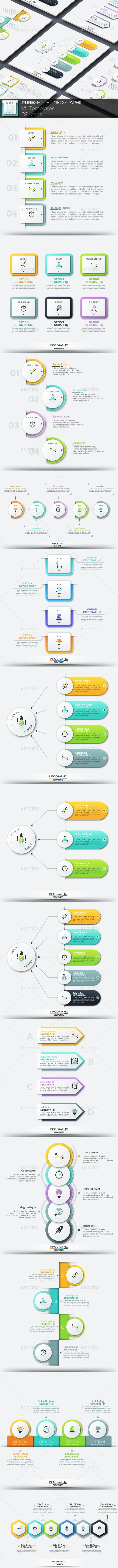 Pure Shape Infographic. Set 13 - Infographics
