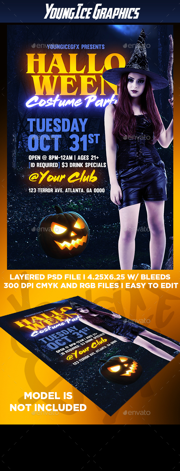 Halloween Costume Party Flyer Template - Clubs & Parties Events
