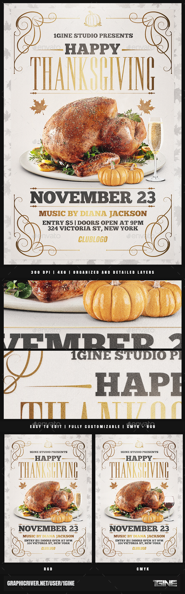 Happy Thanksgiving Bash Flyer Template - Holidays Events