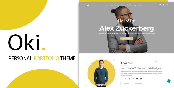 Image of Oki - Advanced Personal Resume / CV vCard Template