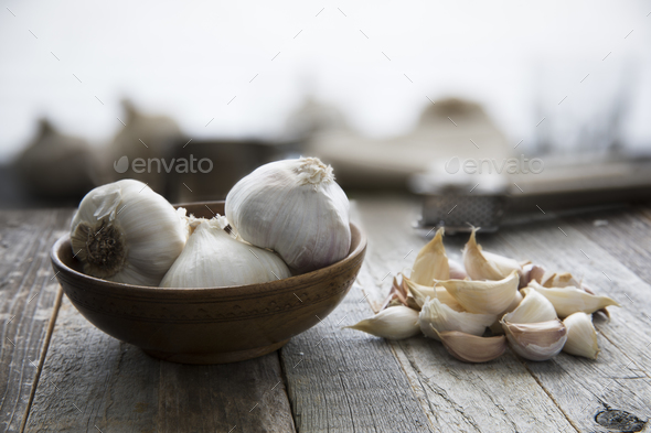 Bowl of Garlic - Stock Photo - Images