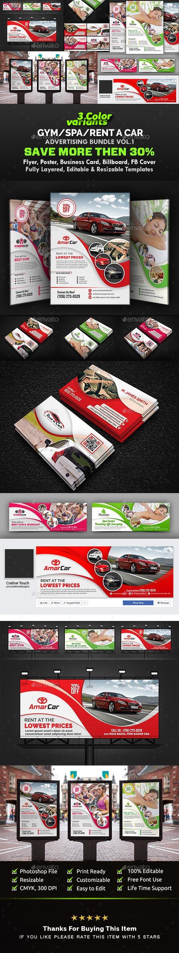 GraphicRiver Gym Ad Bundle Spa Ad Bundle I Car Advertising Bundle Vol.1 20817110