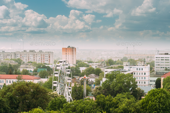 Gomel, Belarus. Cityscape And Architecture. Top Aerial View Of F - Stock Photo - Images
