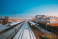 Gomel, Belarus. Trains And Railway Station Building At Morning O