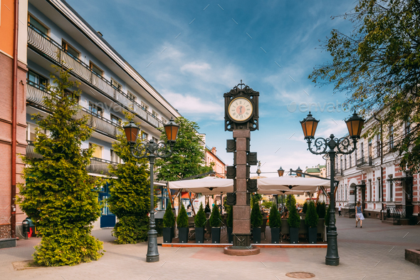 Brest, Belarus. Clock With Arms Of City Of Different Times On Pe - Stock Photo - Images