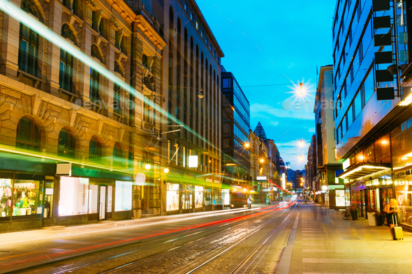 Helsinki, Finland. Tram Departs From A Stop On Street Aleksanter - Stock Photo - Images
