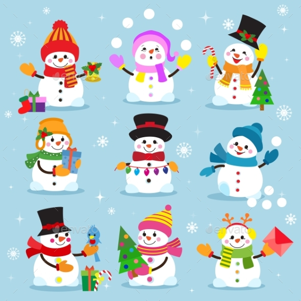 Snowman Cartoon Winter Christmas Character Holiday - People Characters