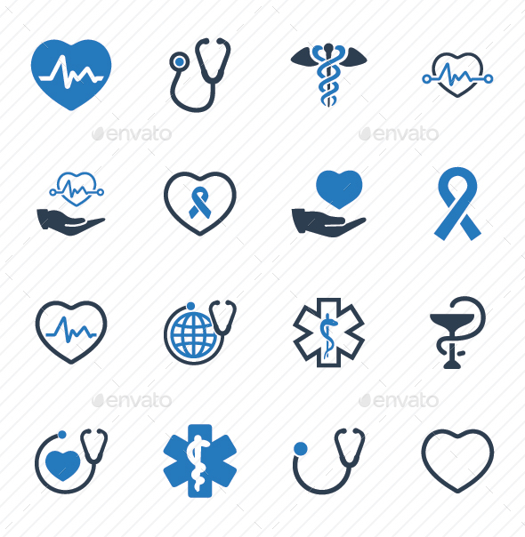 Healthcare Symbols - Blue Version - Web Icons