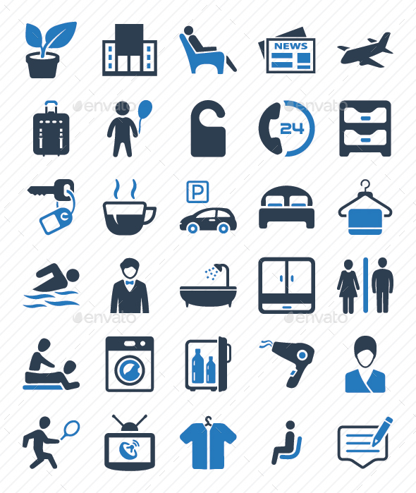 Hotel Services Icons Set - Blue Version - Web Icons