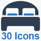 Hotel Services Icons Set - Blue Version
