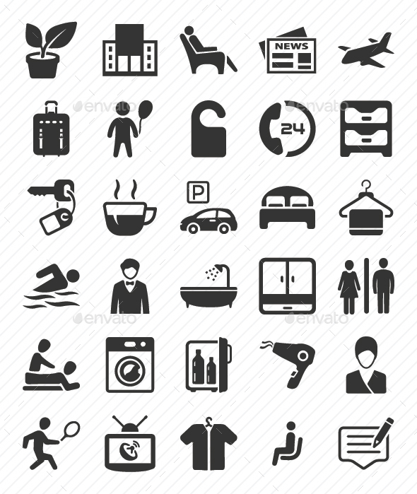 GraphicRiver Hotel Services Icons Set Gray Version 20817380