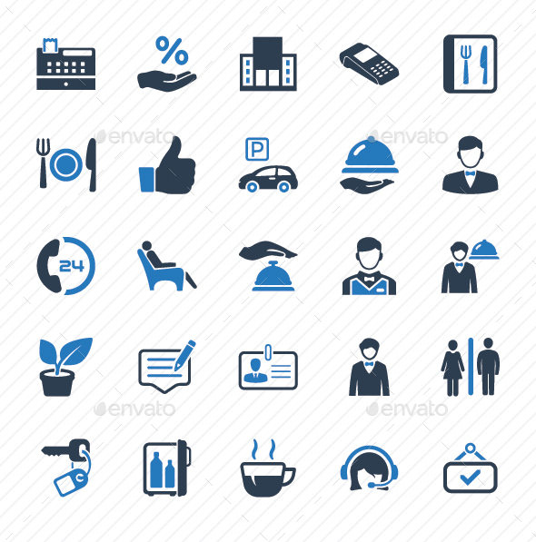 GraphicRiver Restaurant Service Icons Blue Version 20817389