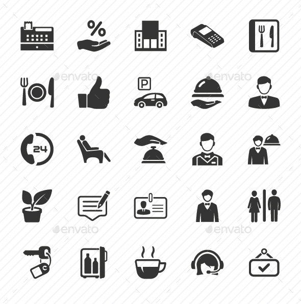 Restaurant Service Icons - Gray Version - Web Icons