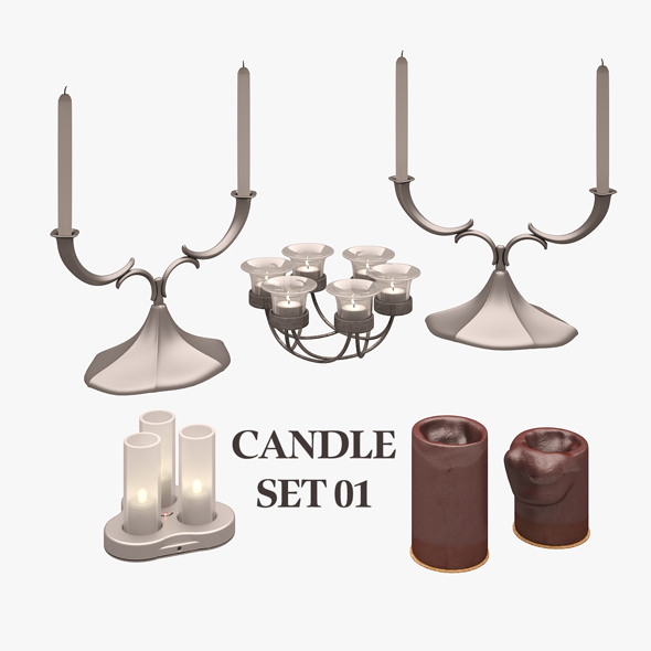 3DOcean Candle Set 01 20817679