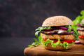 Sandwich juicy spicy chicken burgers with tomato and eggplant