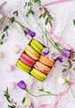 Colorful macaroons and marshmallows on a ligth  background. Flat lay. Top view