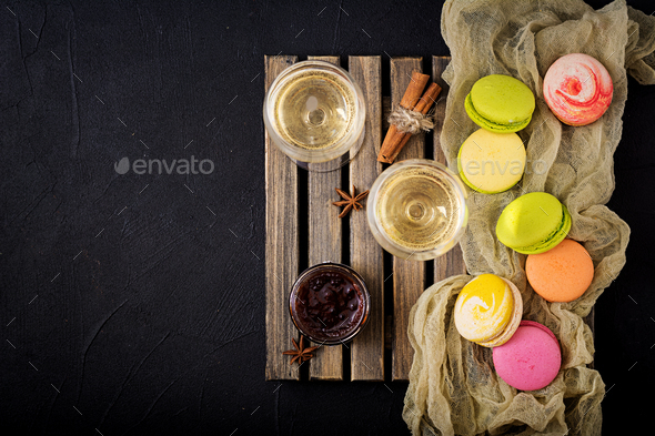 dry white wine and a macaroon. Flat lay. Top view. - Stock Photo - Images
