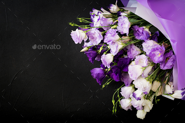 Beautiful flowers bouquet mix of white, purple and violet eustoma. - Stock Photo - Images