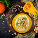 Cream of pumpkin soup with sour cream sauce. Flat lay. Top view - PhotoDune Item for Sale