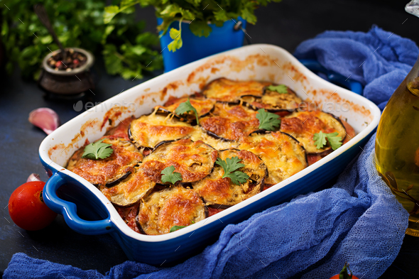 Eggplant Parmigiano (eggplant casserole) - a traditional Italian dish - Stock Photo - Images