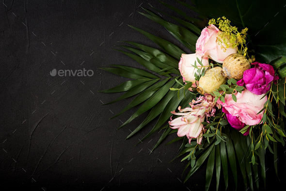 Beautiful bouquet mix of white, purple and pink flowers. - Stock Photo - Images